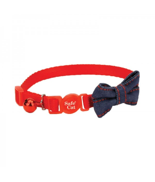 Coastal Embellished Collar Cat Bow-Tie Red